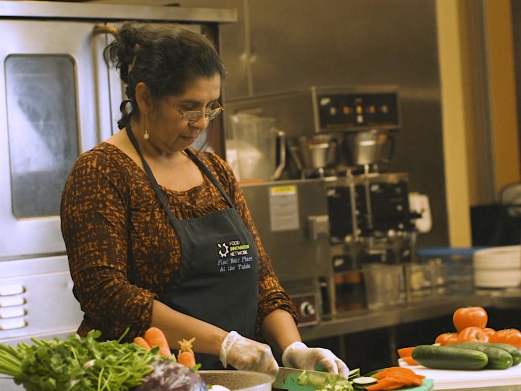 Ofelia prepares food