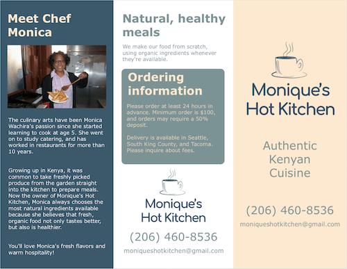 Monique's Hot Kitchen Menu