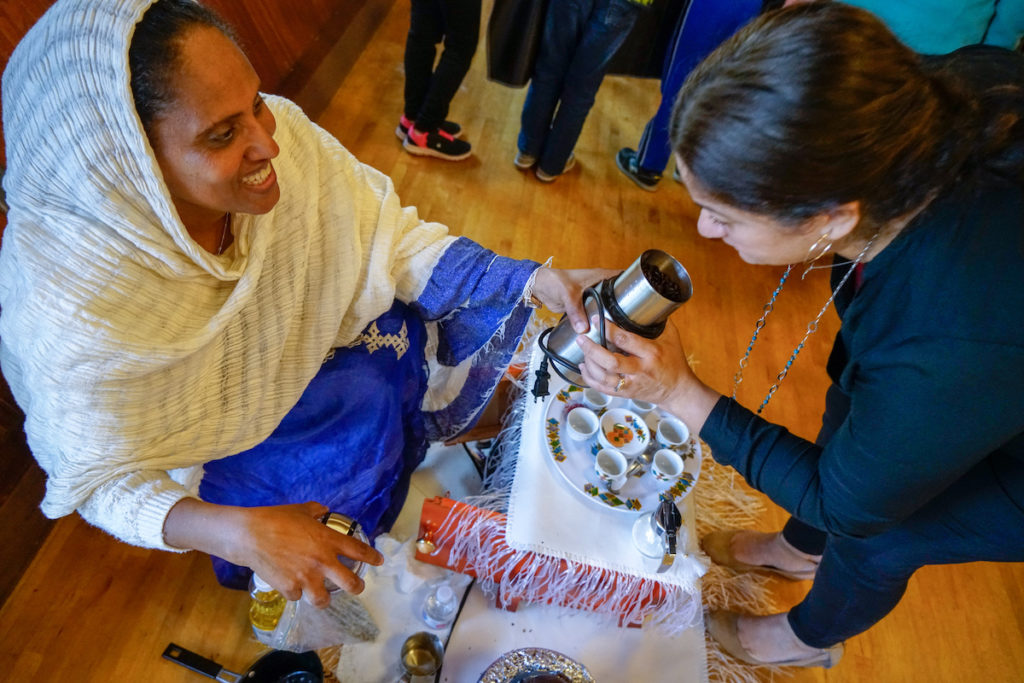Sunny led an Eritrean coffee ceremony. Freshly roasted coffee beans smell amazing!