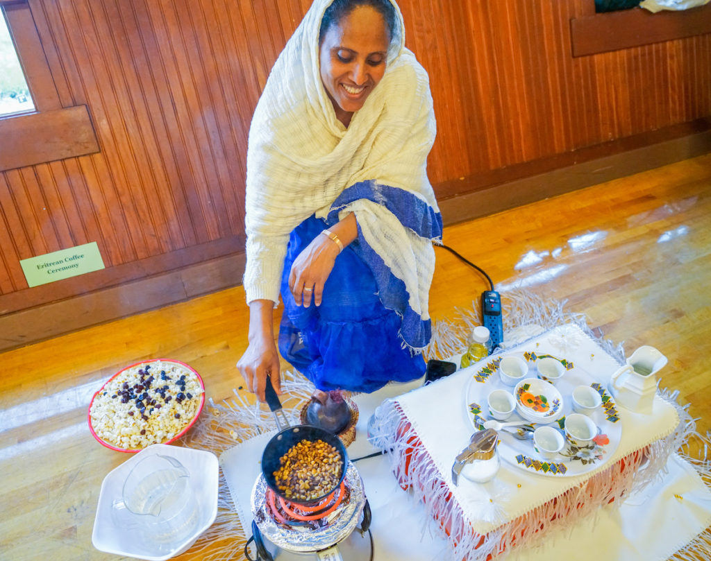Sunny provided a beautiful Eritrean coffee ceremony.