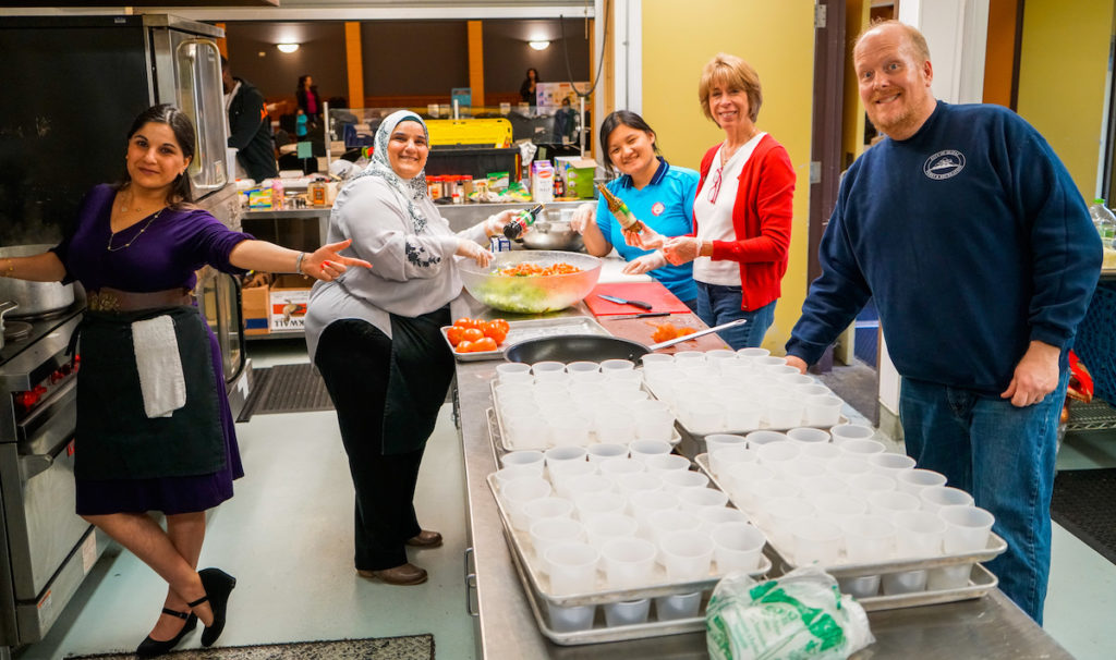 Volunteers cooked up yet another amazing meal featuring dishes from all over the world.