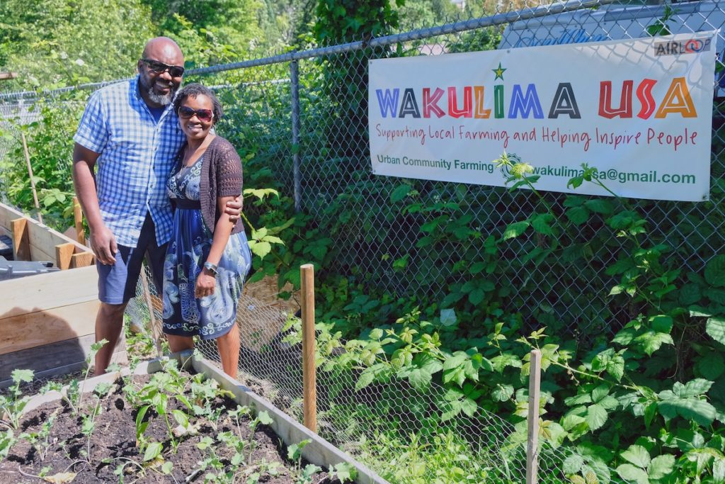 Growers at Wakulima USA's plot at Sonju Community Garden