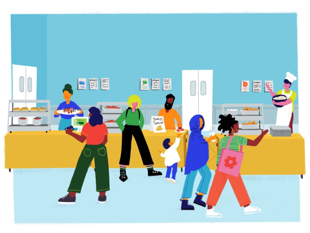 Colorful illustration of Food Hall customers, entrepreneurs and food